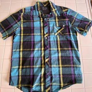 Fox Striped Blue Plaid Button Down Shirt